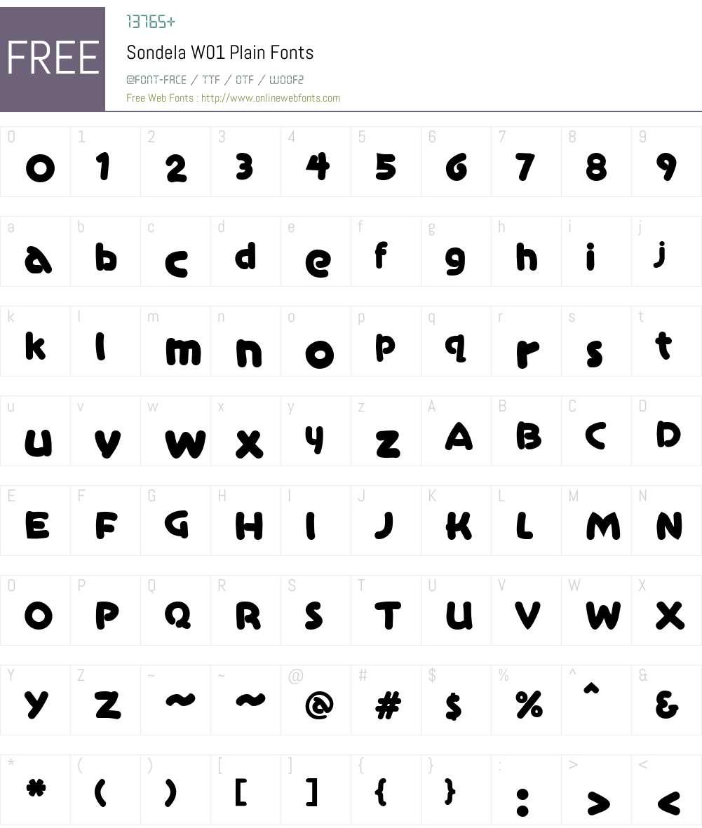 SondelaW01-Plain Font Screenshots