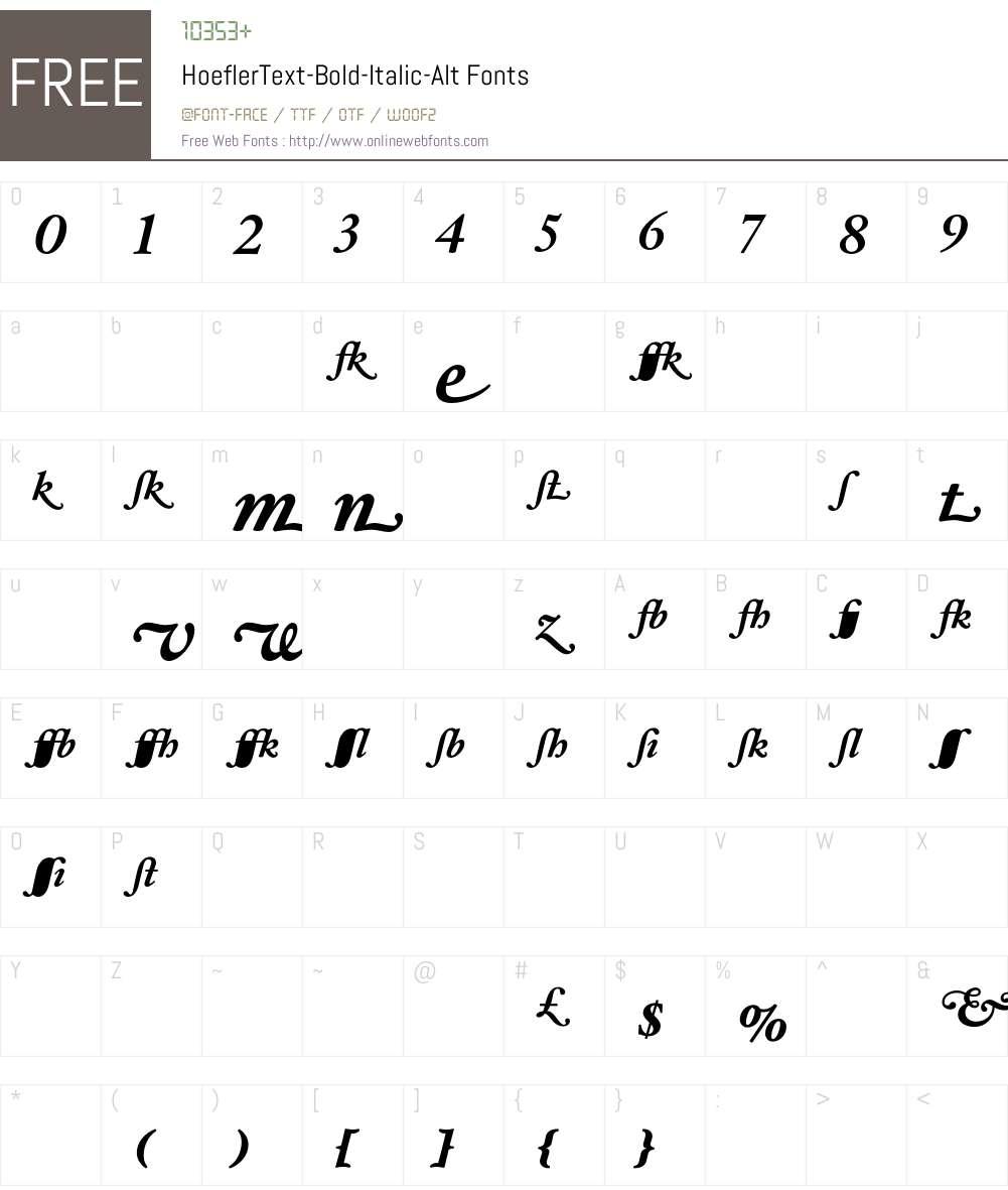 HoeflerText-Bold-Italic-Alt Font Screenshots