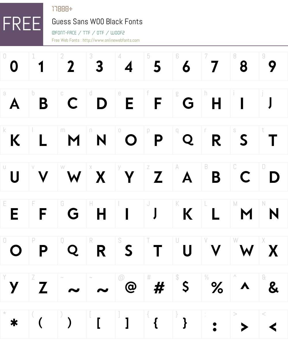 GuessSansW00-Black Font Screenshots