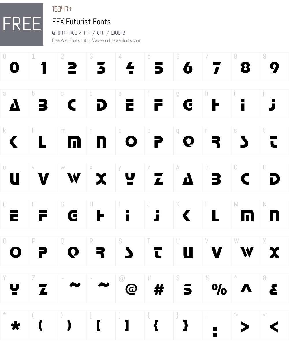 FFX Futurist Font Screenshots