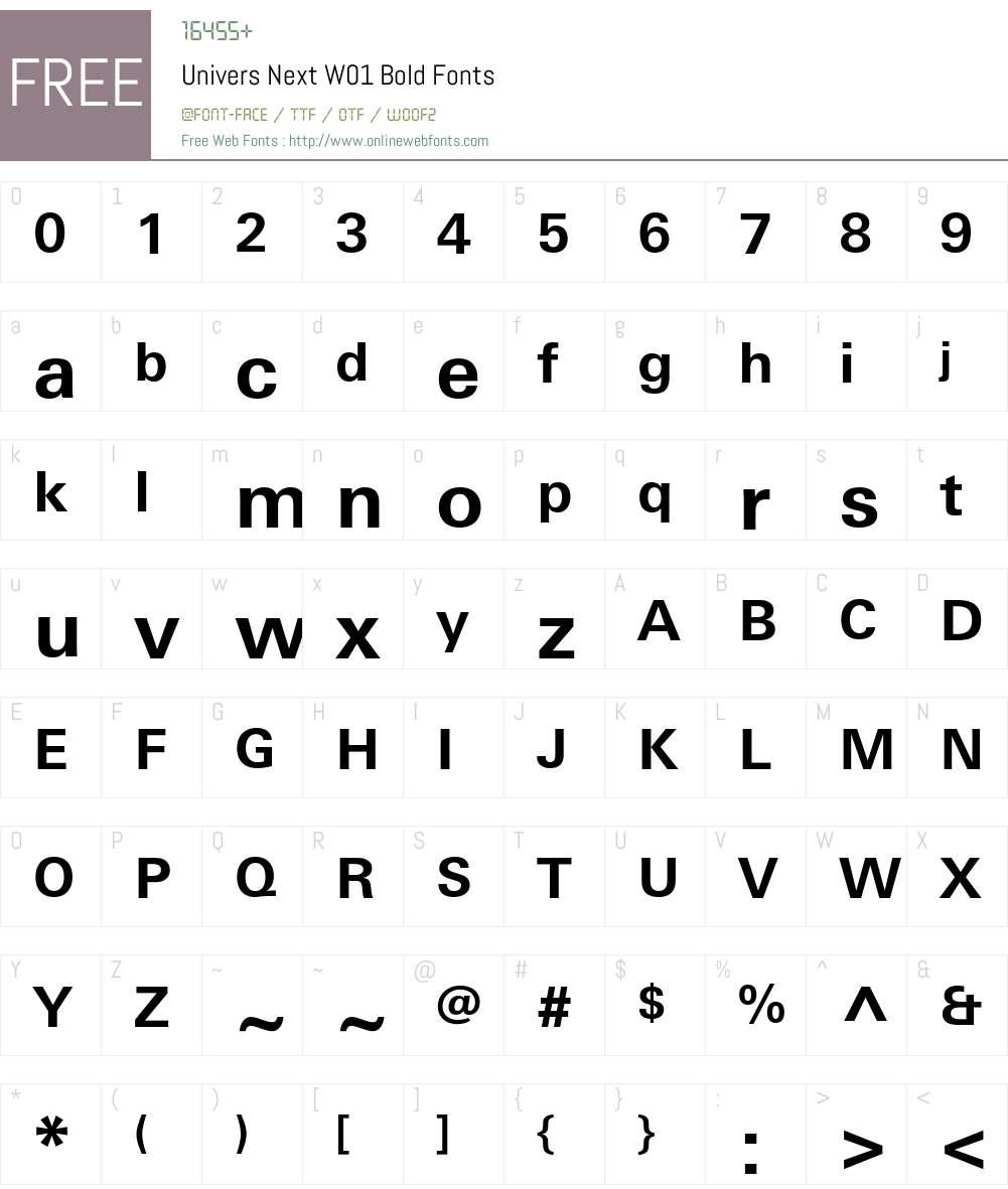 UniversNextW01-Bold Font Screenshots