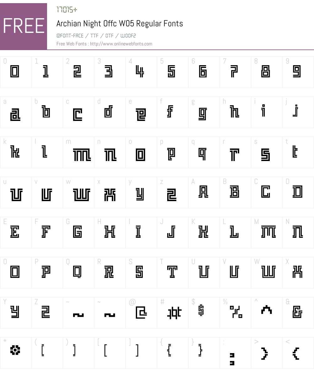 ArchianNightOffcW05-Regular Font Screenshots