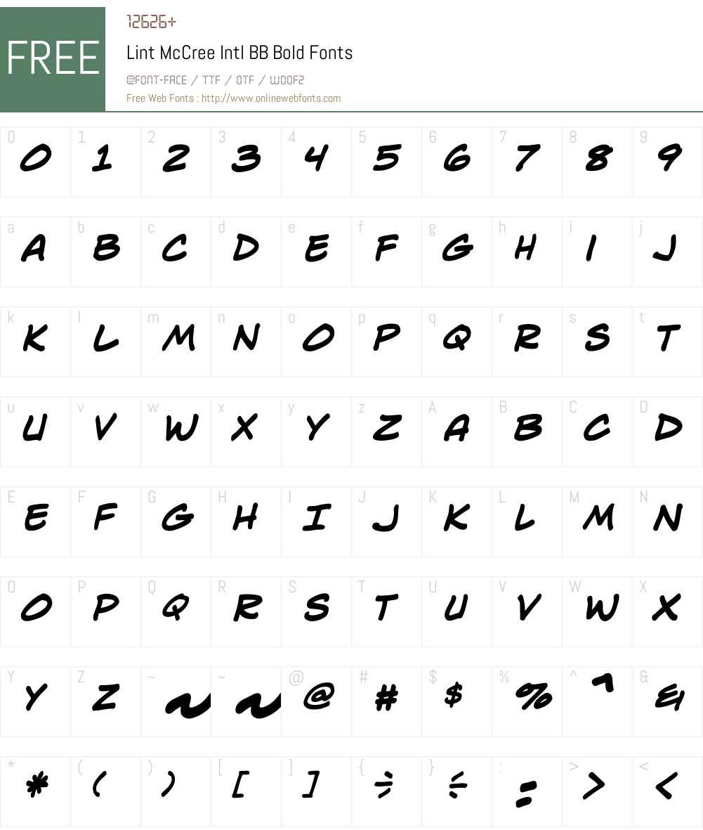 LintMcCreeIntlBB-Bold Font Screenshots