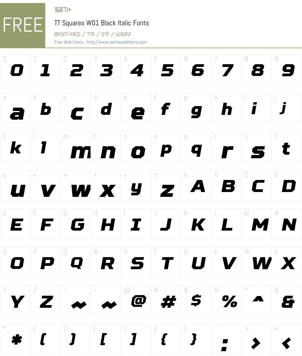 TTSquaresW01-BlackItalic Font Screenshots