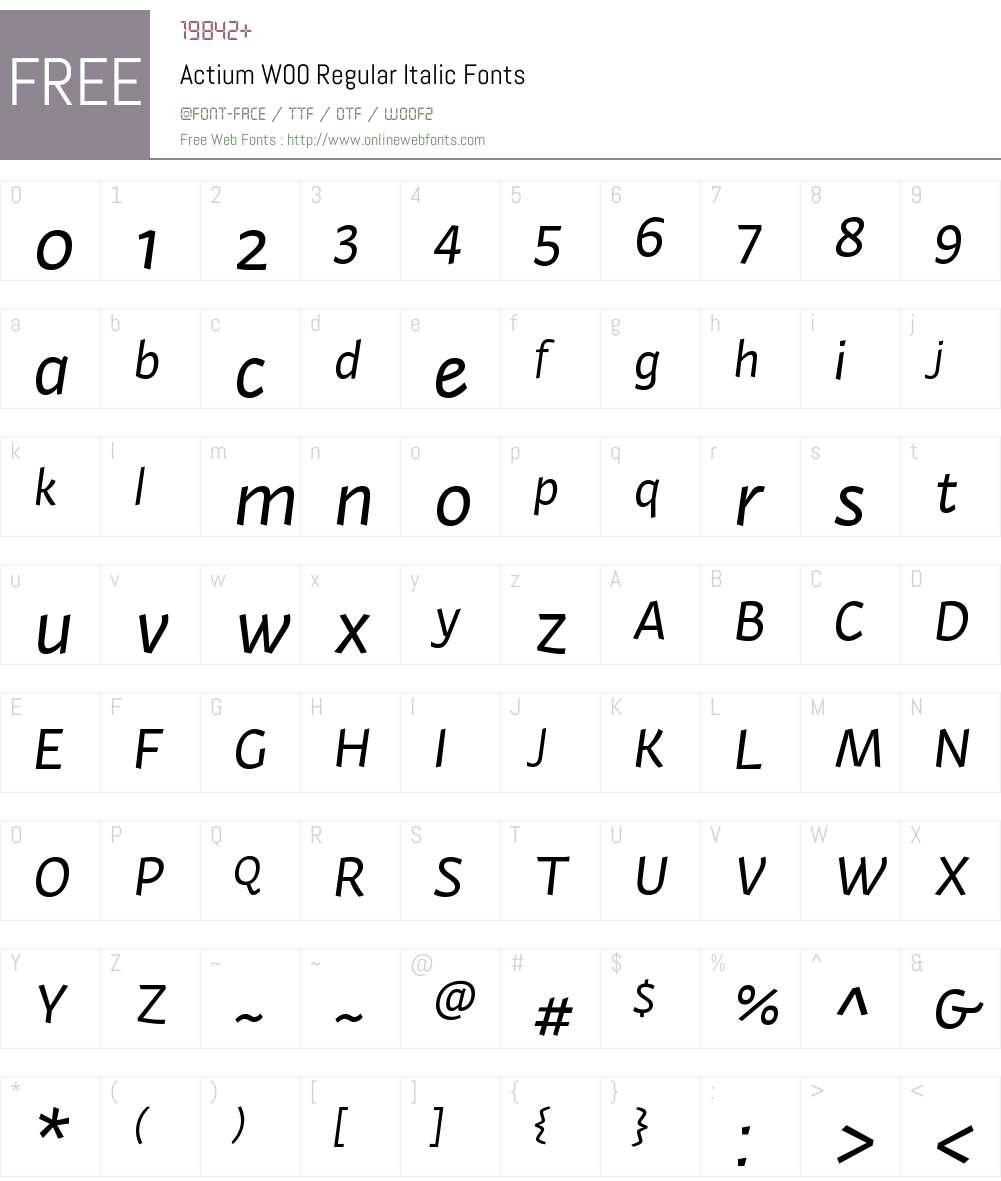 ActiumW00-RegularItalic Font Screenshots