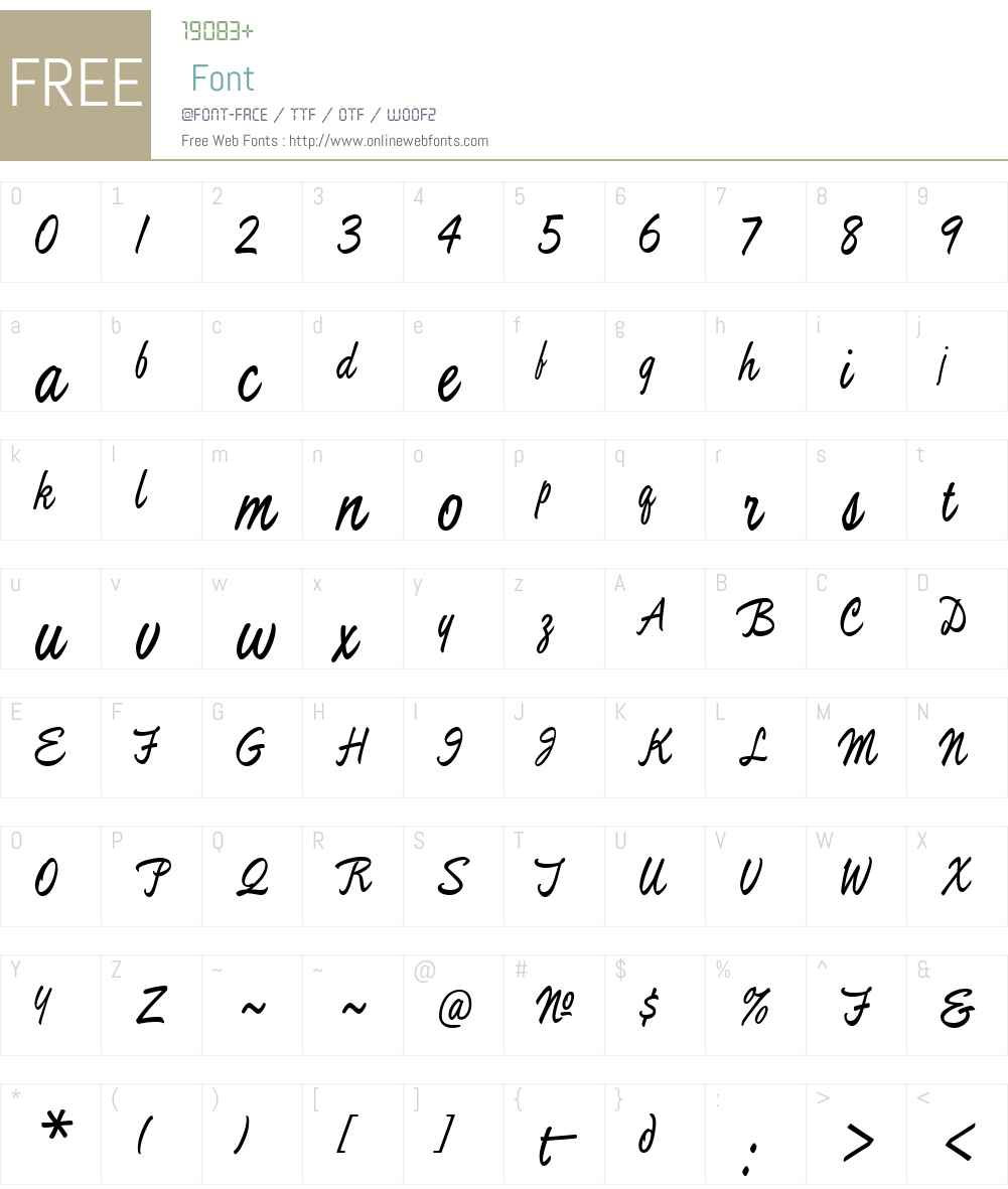 MullenHand Font Screenshots