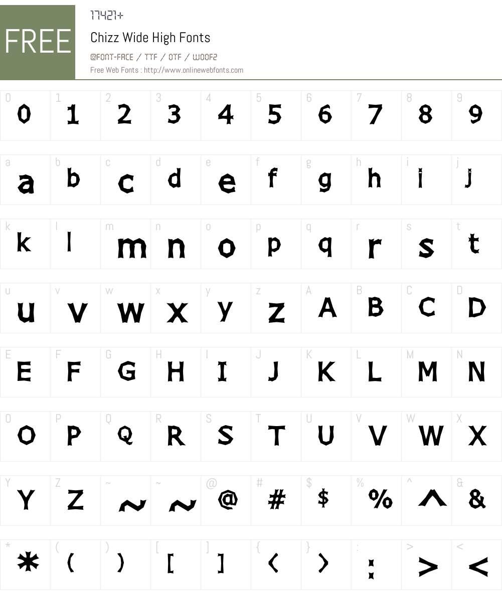 Chizz Wide High Font Screenshots