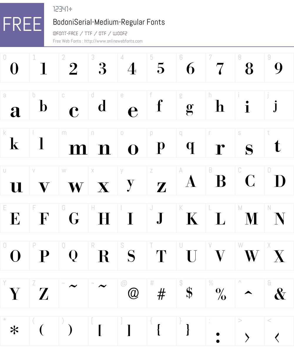 BodoniSerial-Medium Font Screenshots