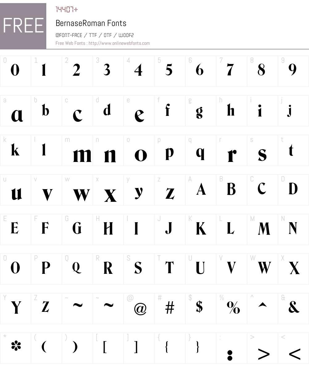 Bernase Font Screenshots