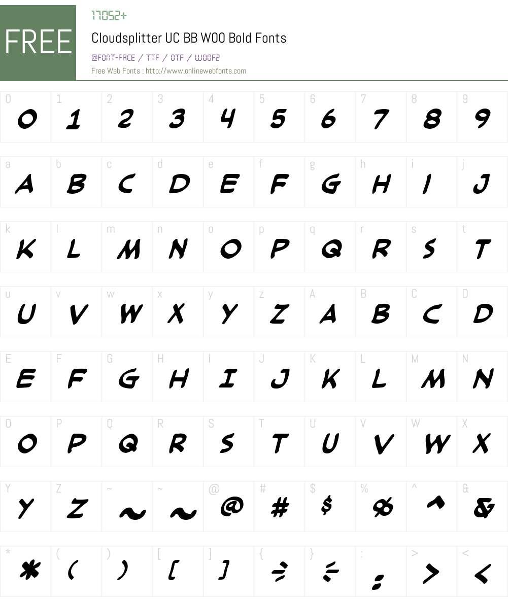 CloudsplitterUCBBW00-Bold Font Screenshots