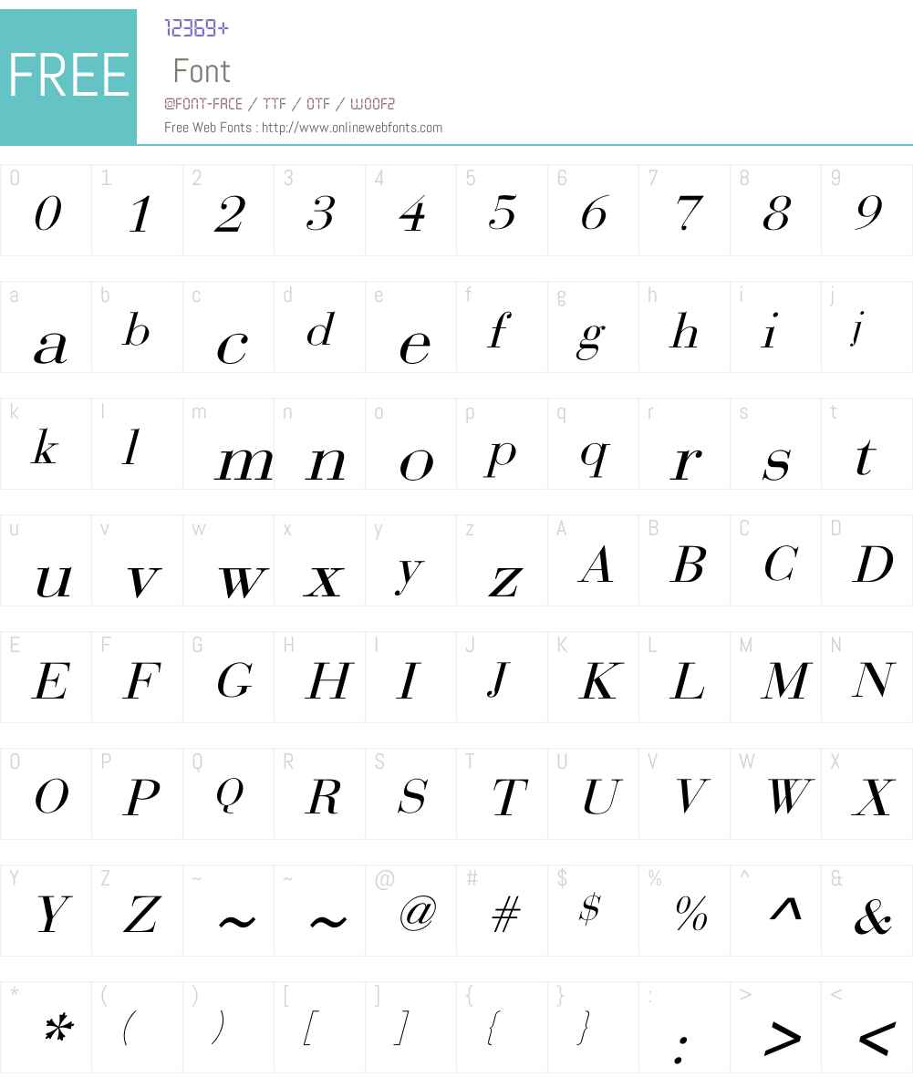Bodoni Font Screenshots