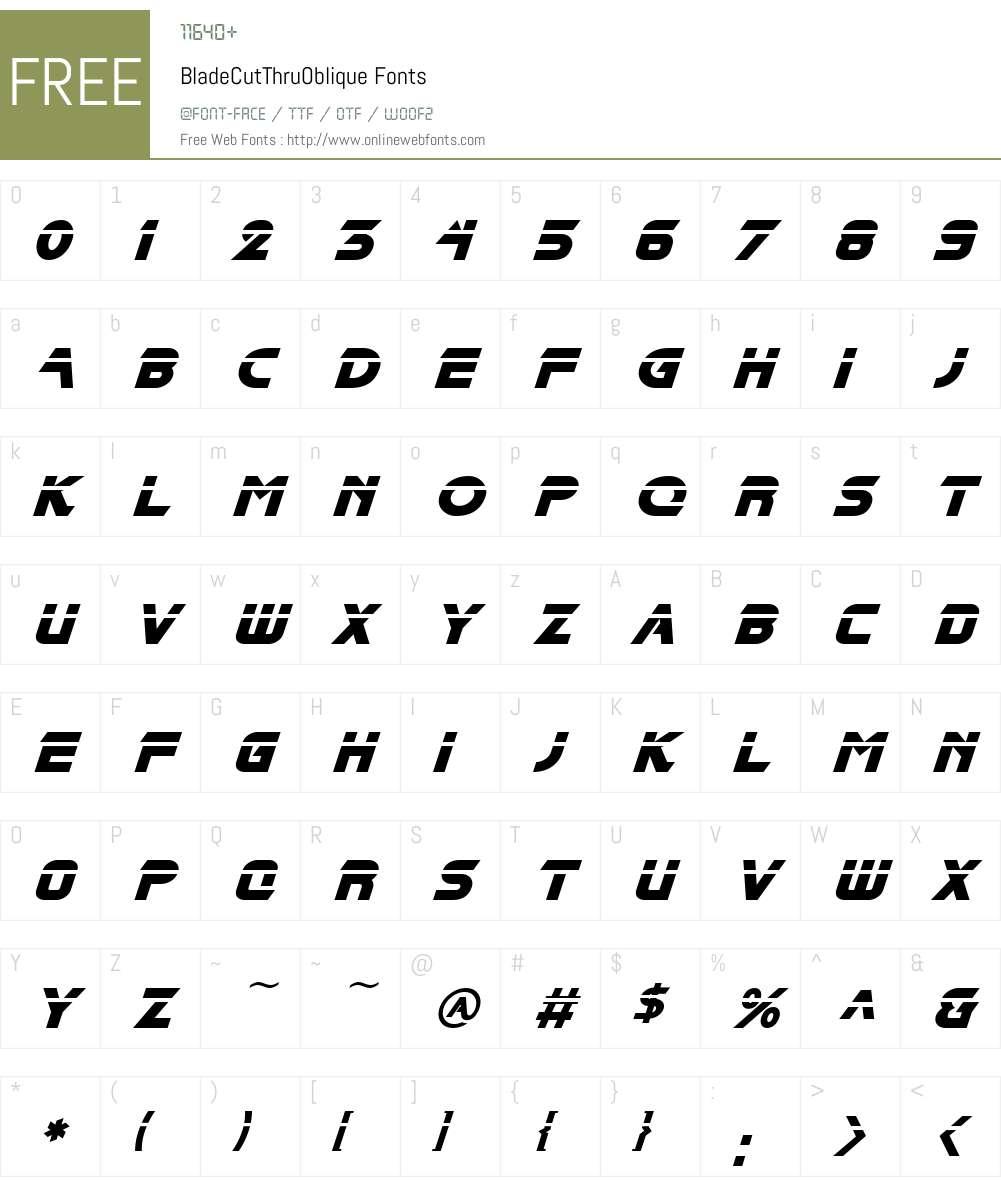 BladeCutThruOblique Font Screenshots