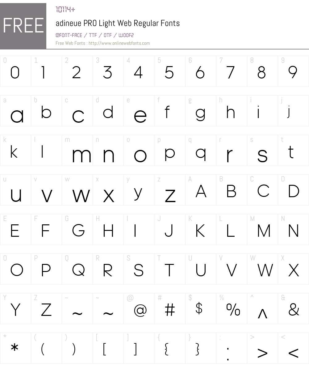 adineue PRO Light Web Font Screenshots