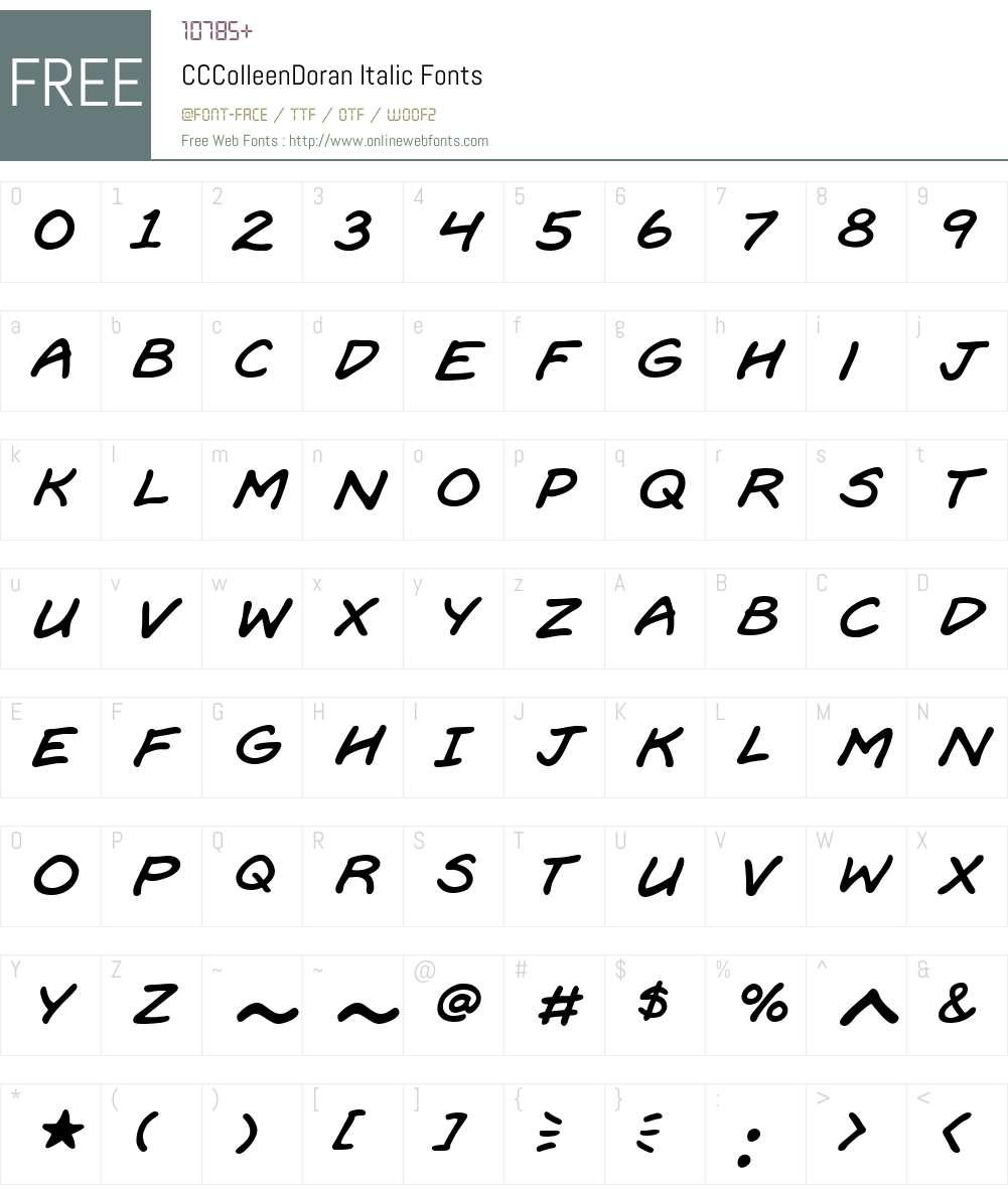CCColleenDoran-Italic Font Screenshots