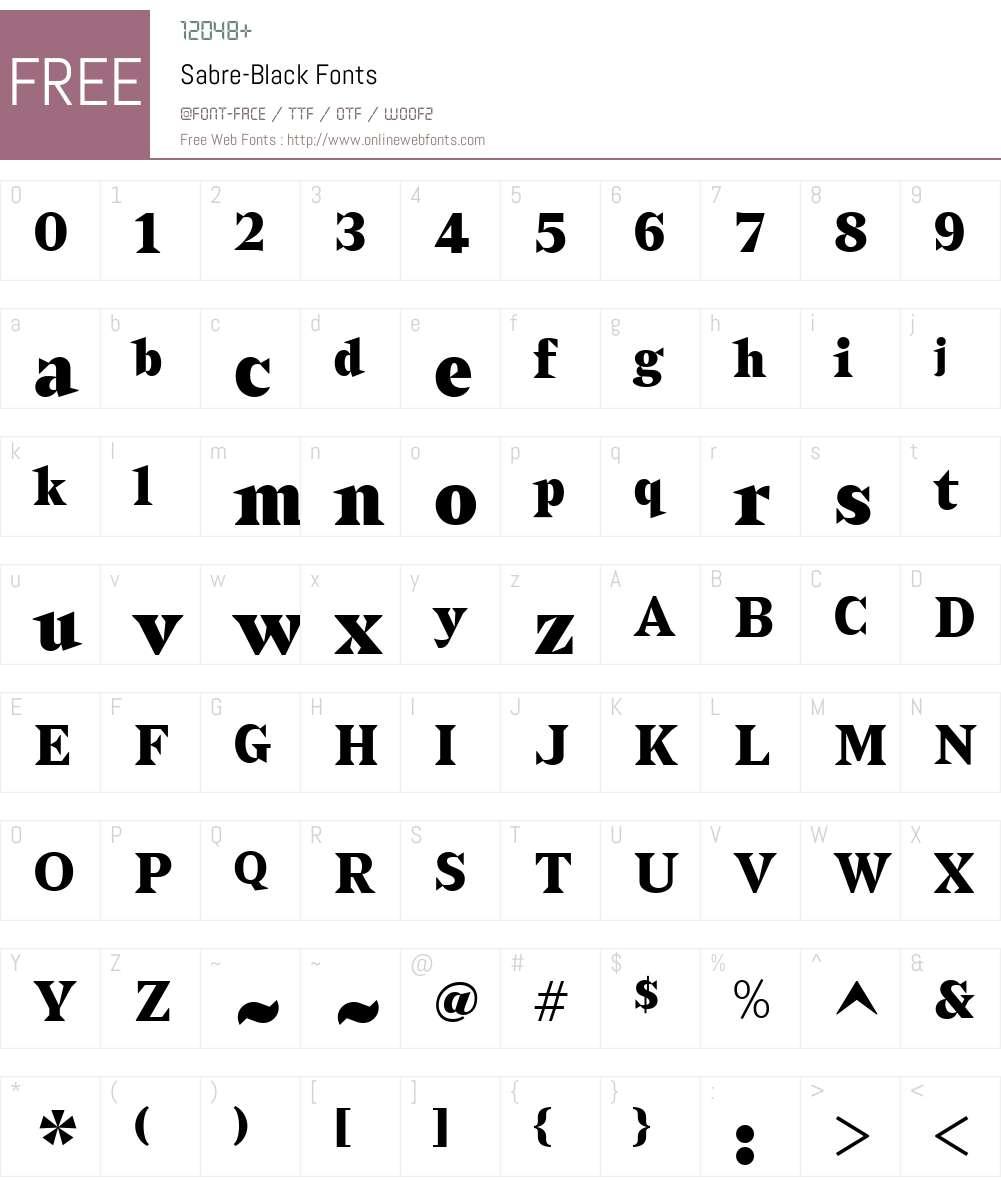 Sabre-Black Font Screenshots