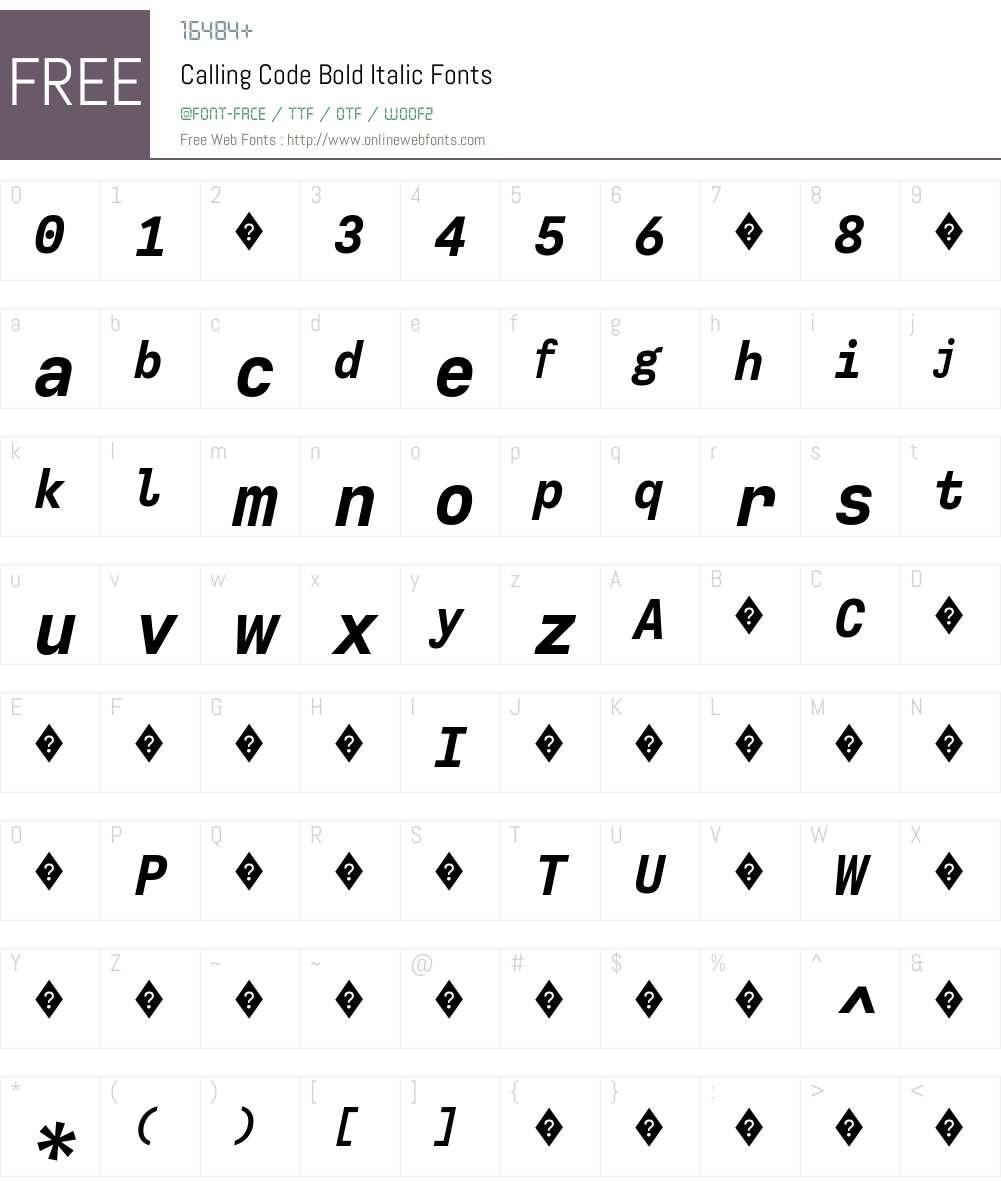 CallingCode-BoldItalic Font Screenshots