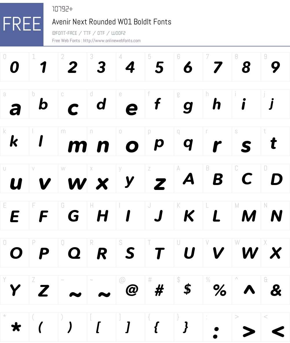 AvenirNextRoundedW01-BoldIt Font Screenshots