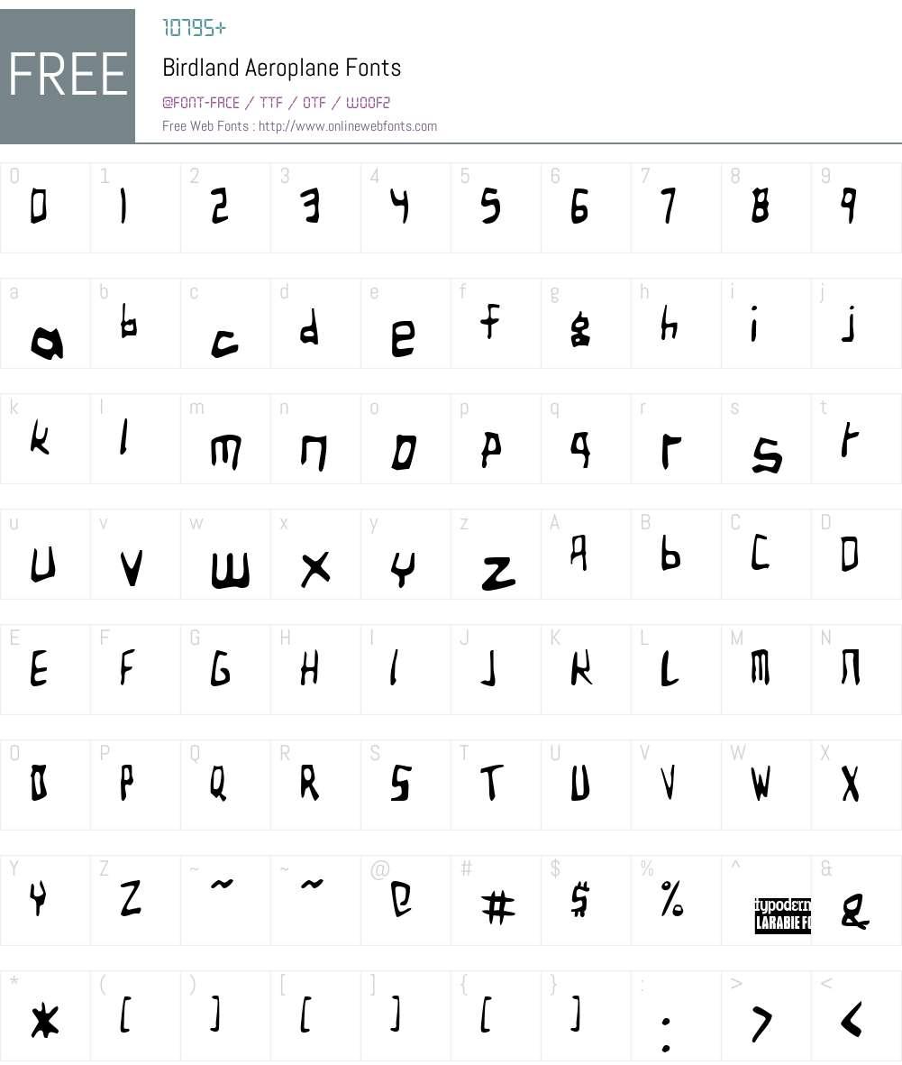 Birdland Aeroplane Font Screenshots