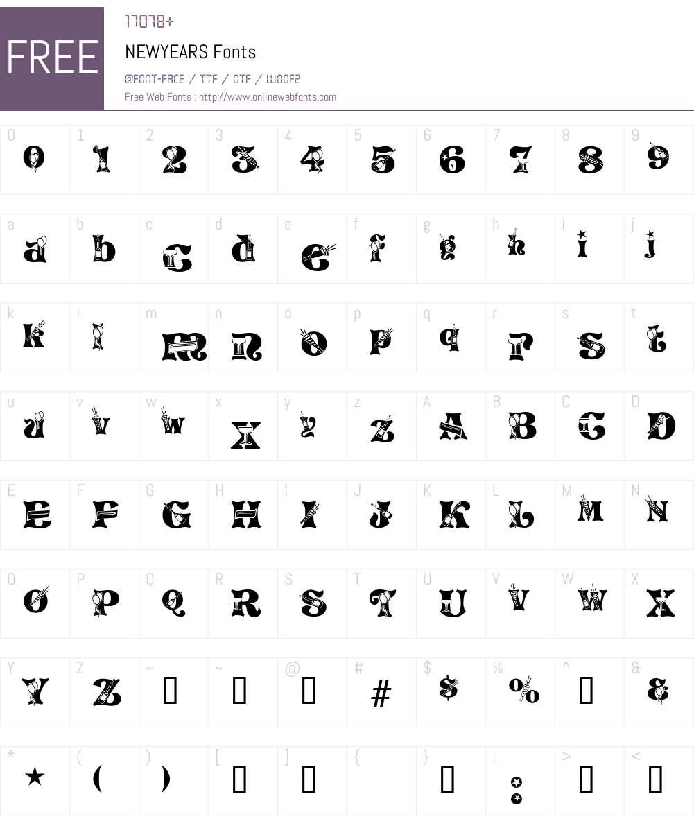 NEWYEARS Font Screenshots