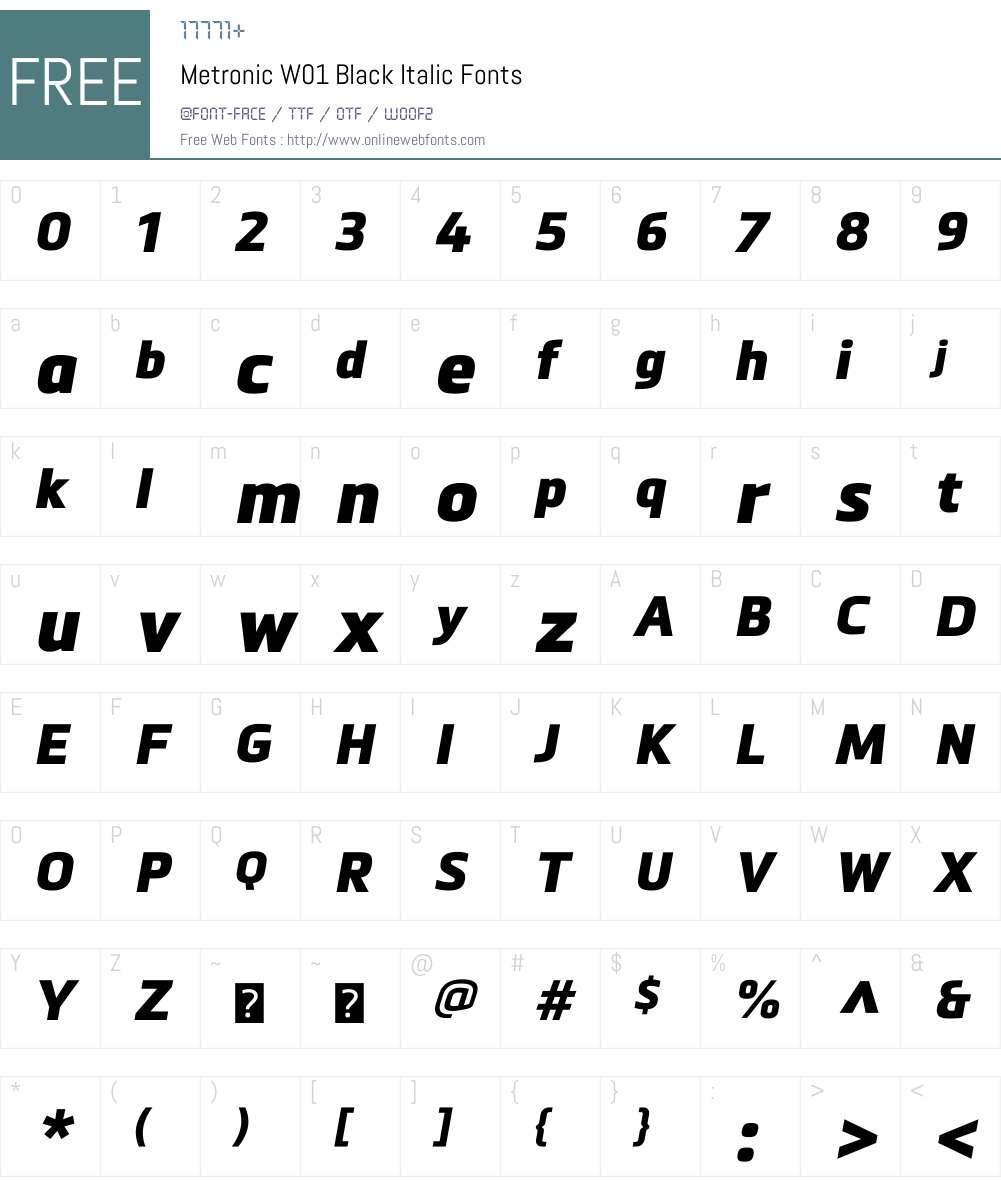 MetronicW01-BlackItalic Font Screenshots
