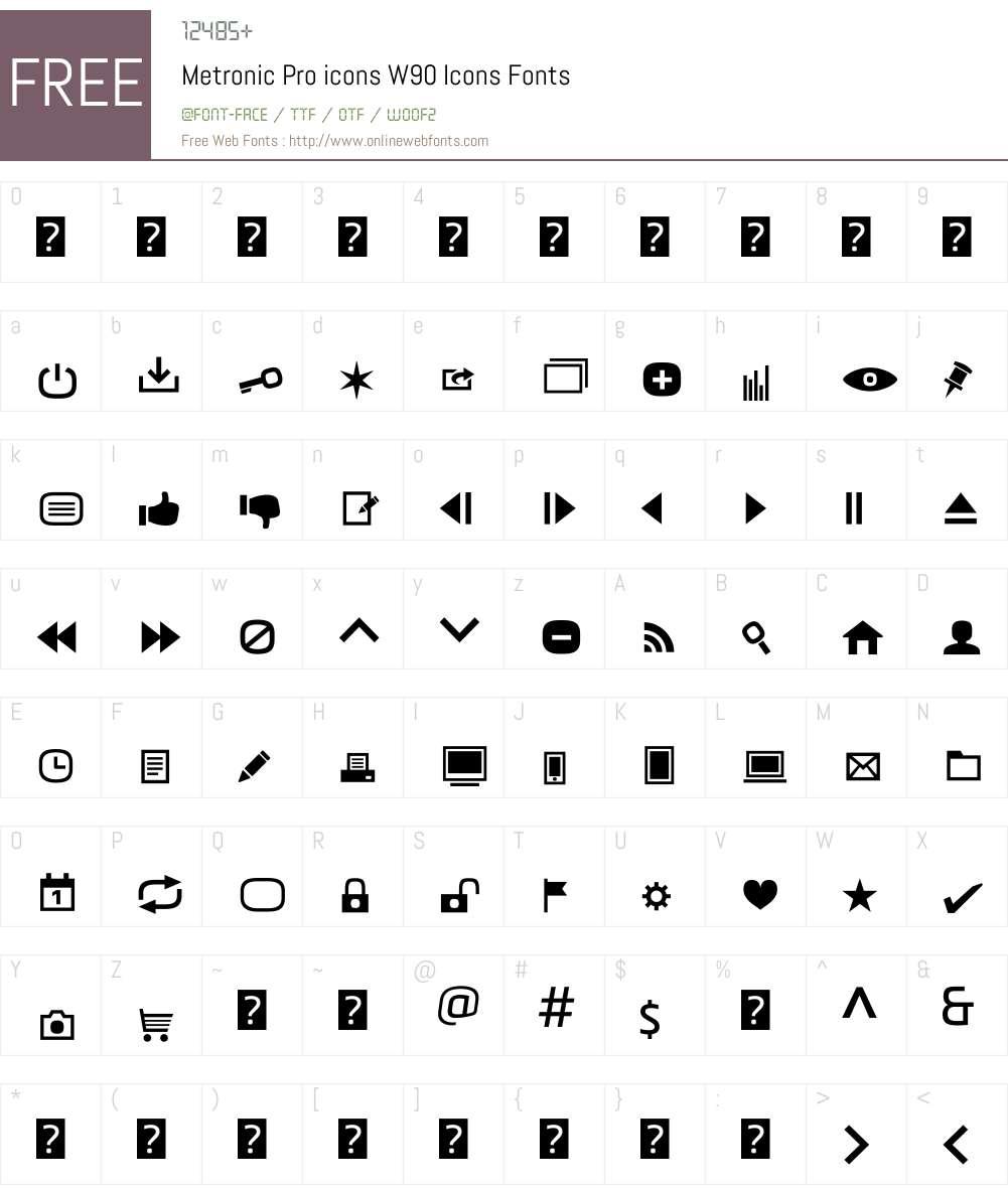 MetronicProiconsW90-Icons Font Screenshots