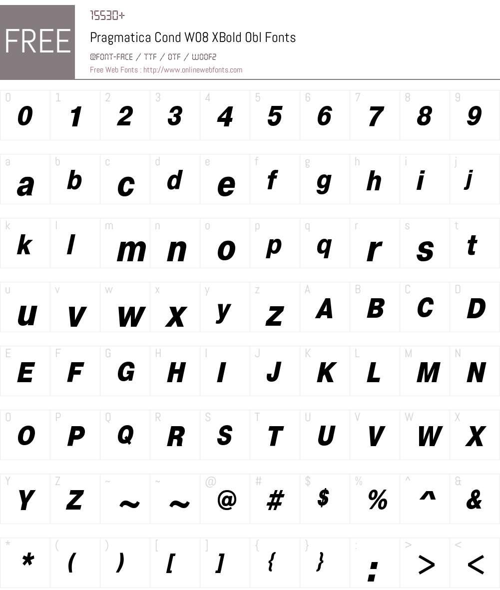 PragmaticaCondW08-XBoldObl Font Screenshots