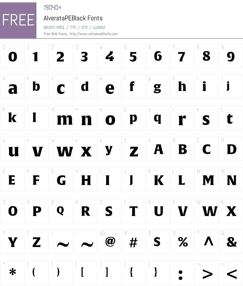 AlverataPEBlack Font Screenshots