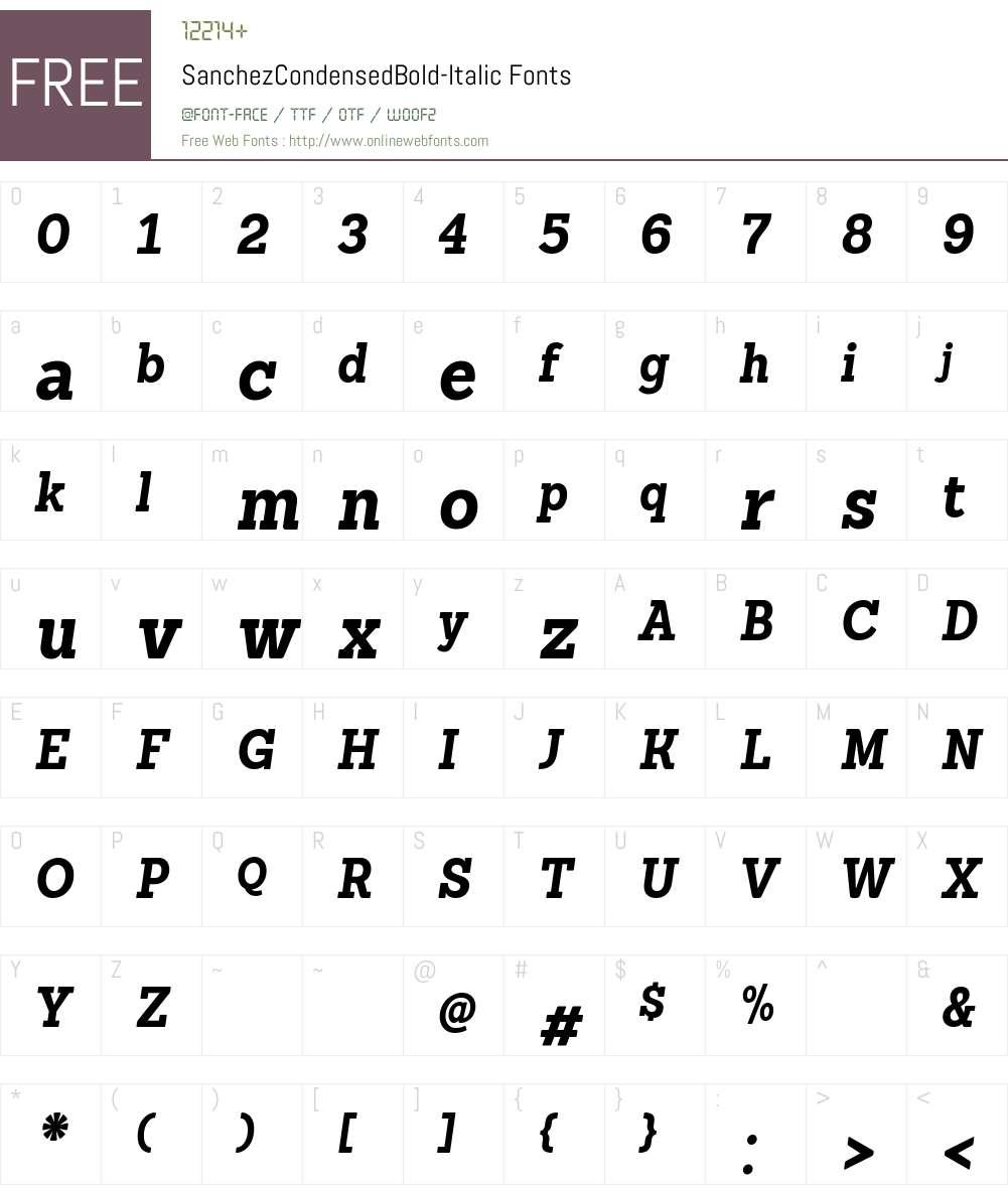 Sanchez Condensed Bold Font Screenshots