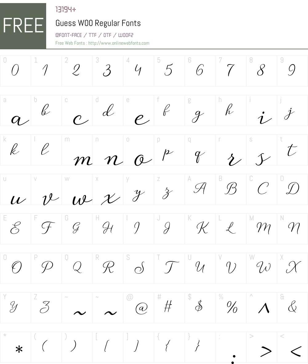 GuessW00-Regular Font Screenshots