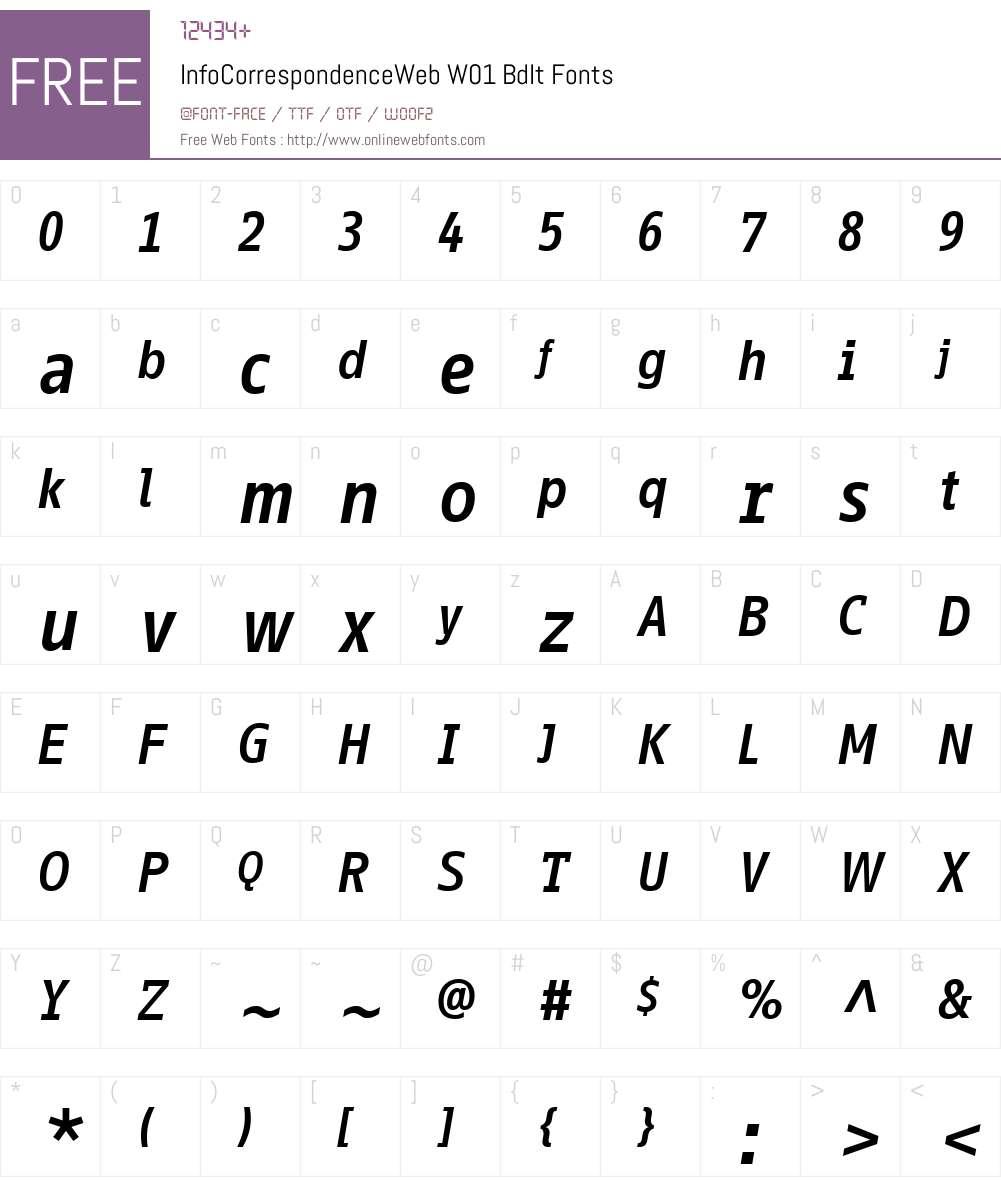 InfoCorrWebW01-BdIt Font Screenshots