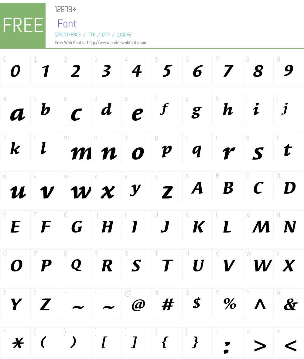 SyndorITCW01-BoldItalic Font Screenshots