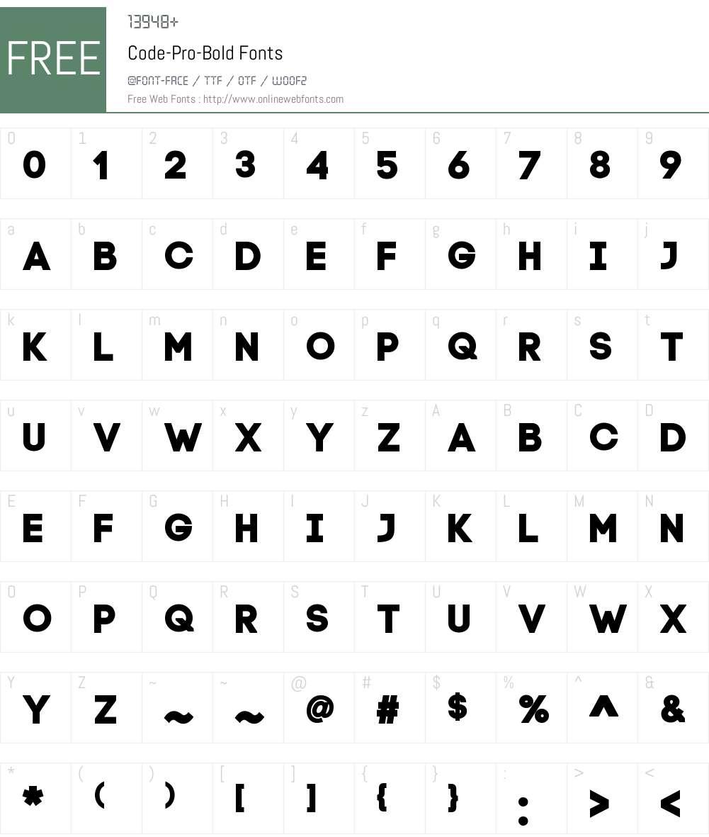 Code Pro Bold Font Screenshots