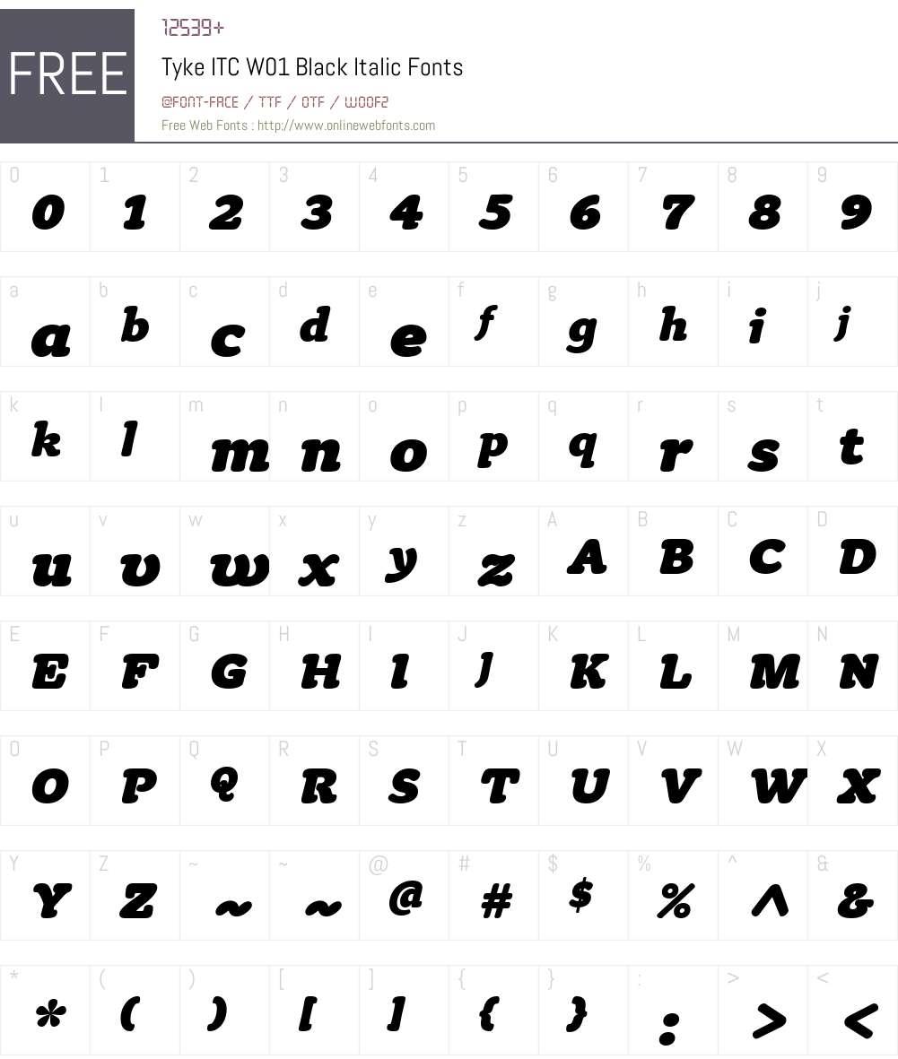 TykeITCW01-BlackItalic Font Screenshots