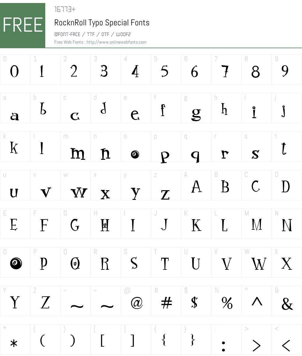 RocknRoll Typo Special Font Screenshots