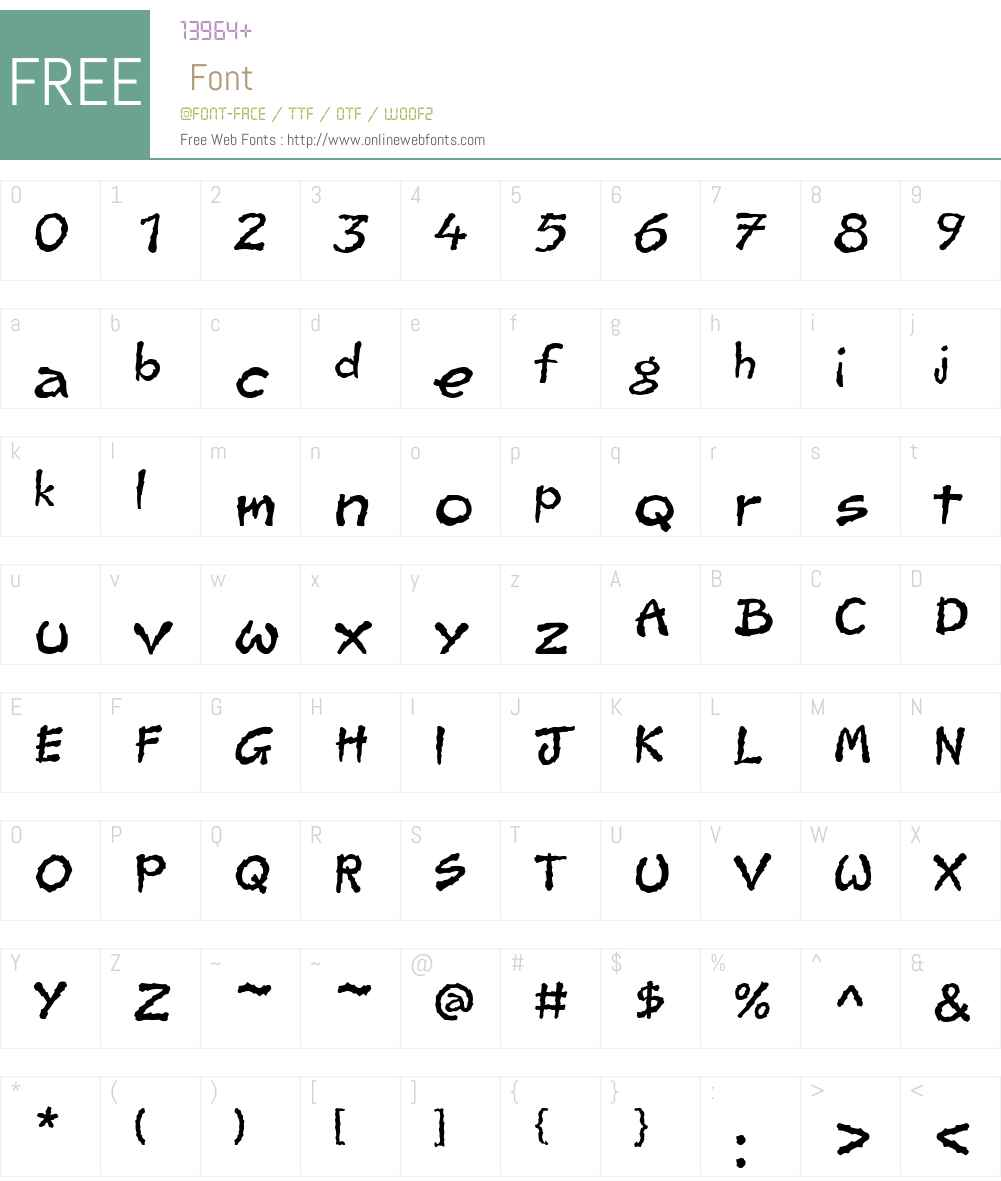 JaggyW01-Regular Font Screenshots