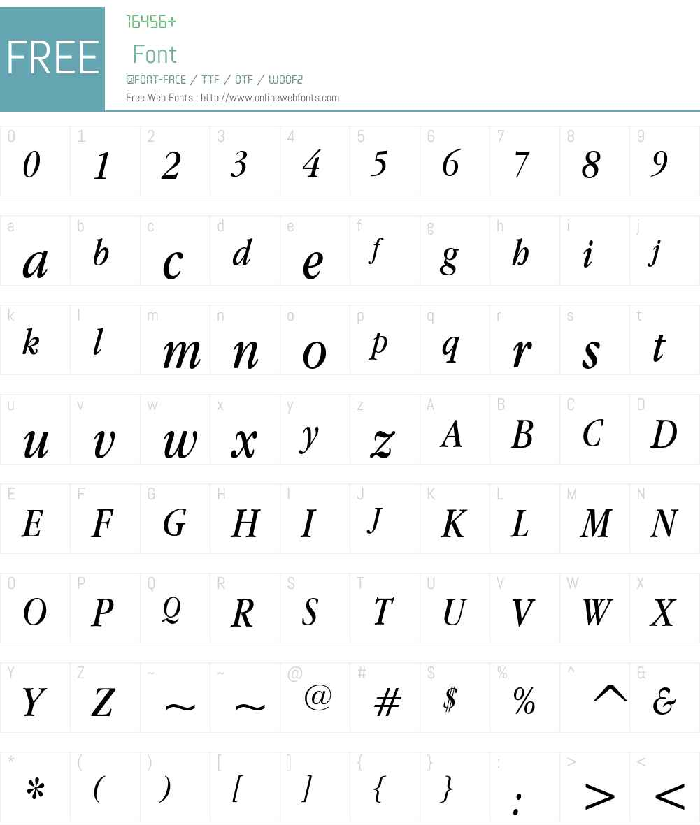ITC Garamond Book Narrow Font Screenshots