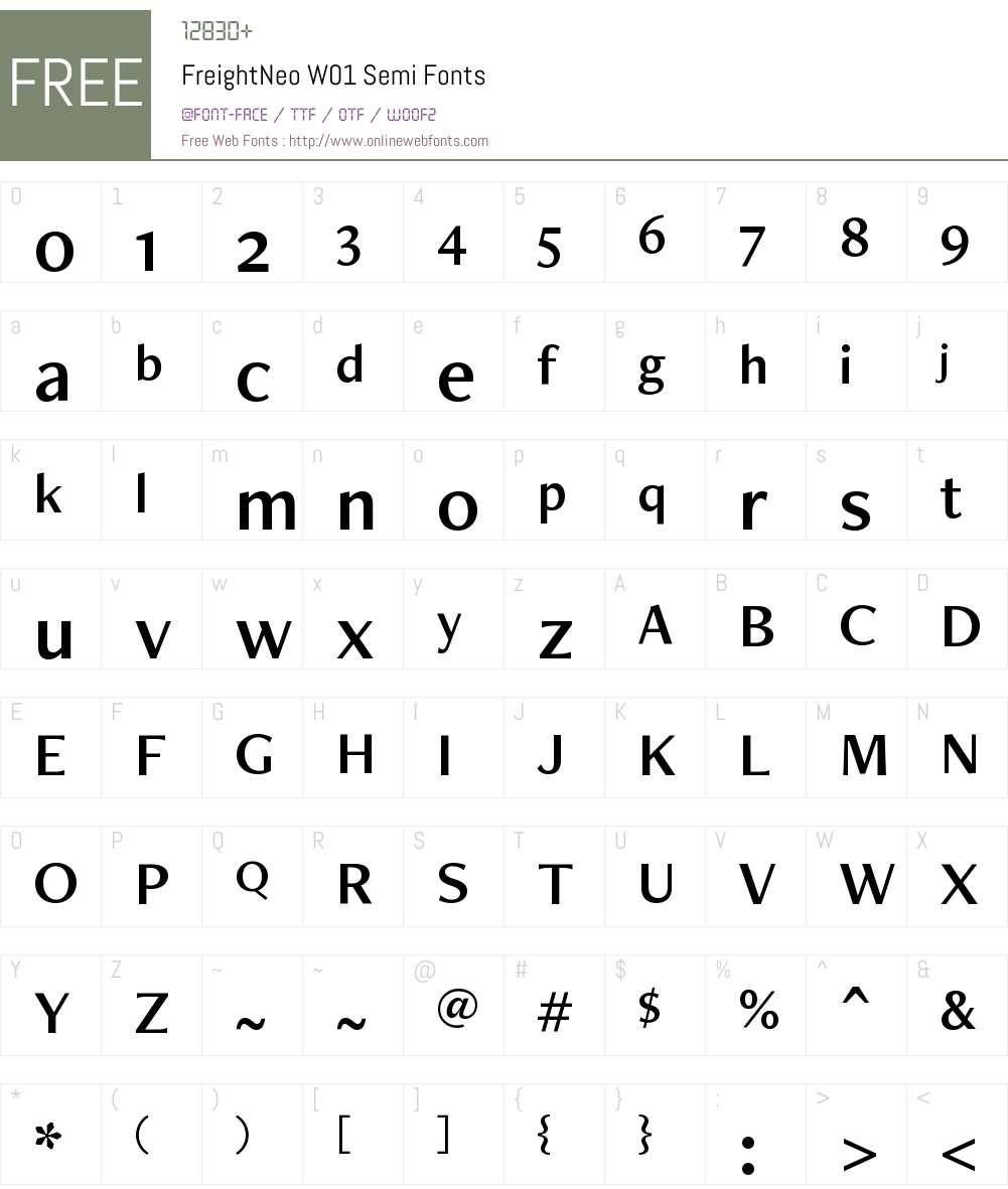 FreightNeoW01-Semi Font Screenshots