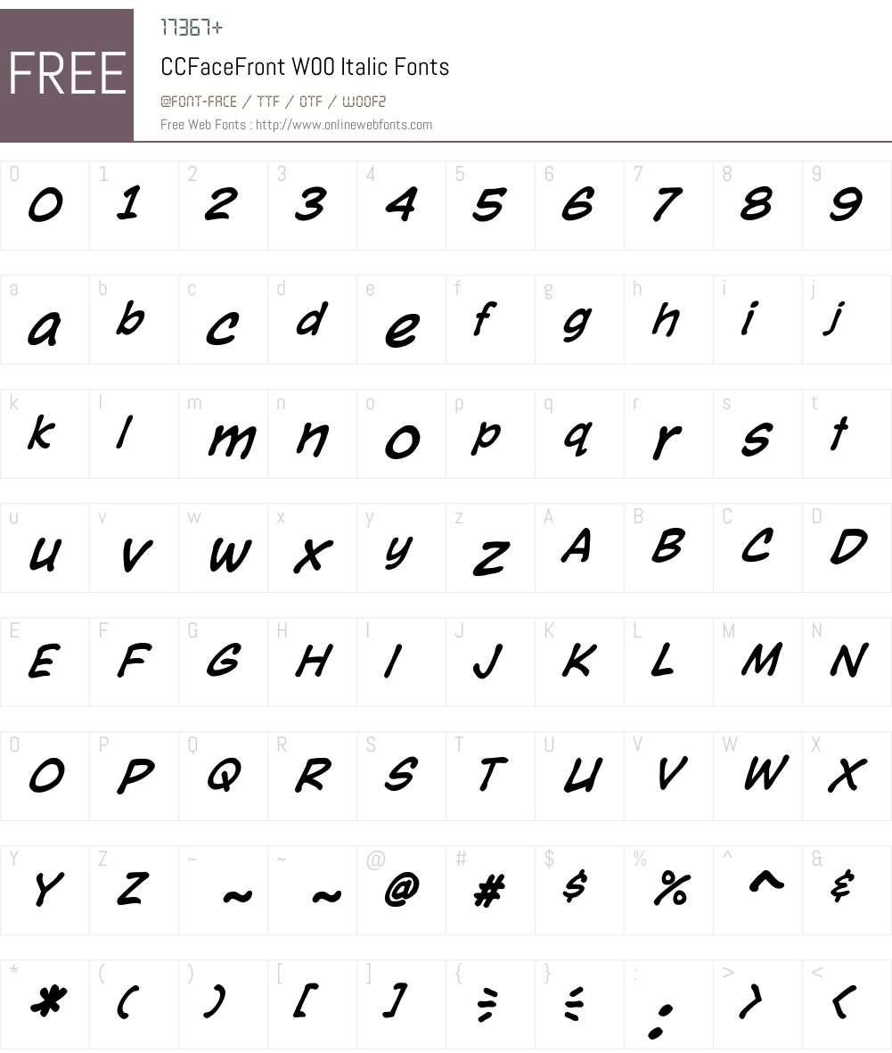 CCFaceFrontW00-Italic Font Screenshots