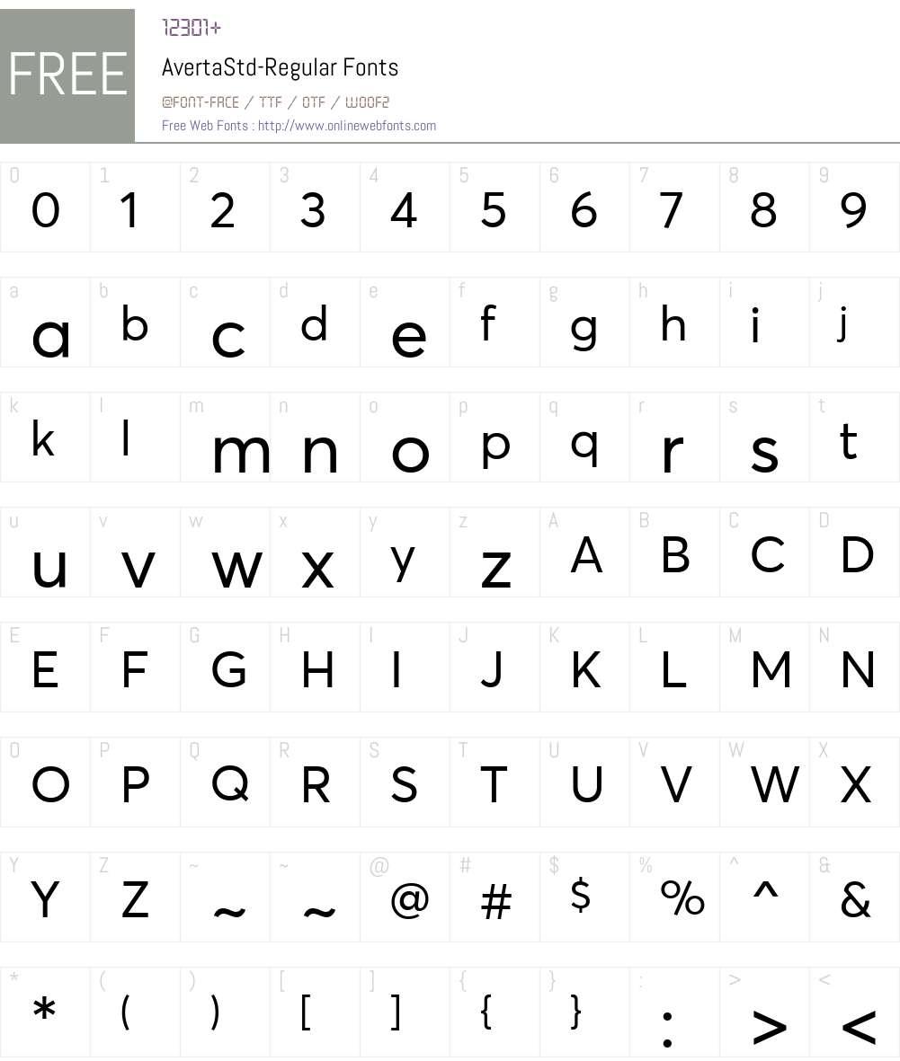 AvertaStd-Regular Font Screenshots