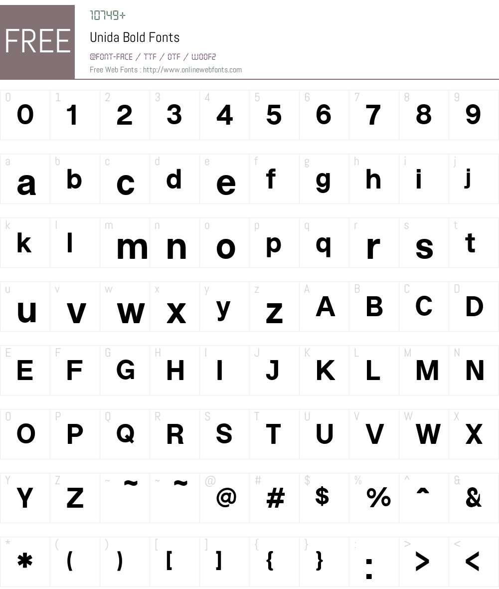 Unida Font Screenshots