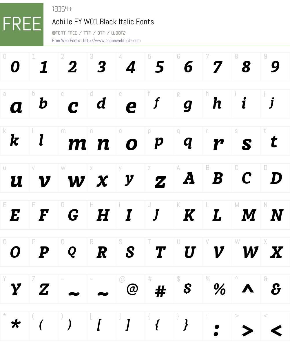 AchilleFYW01-BlackItalic Font Screenshots