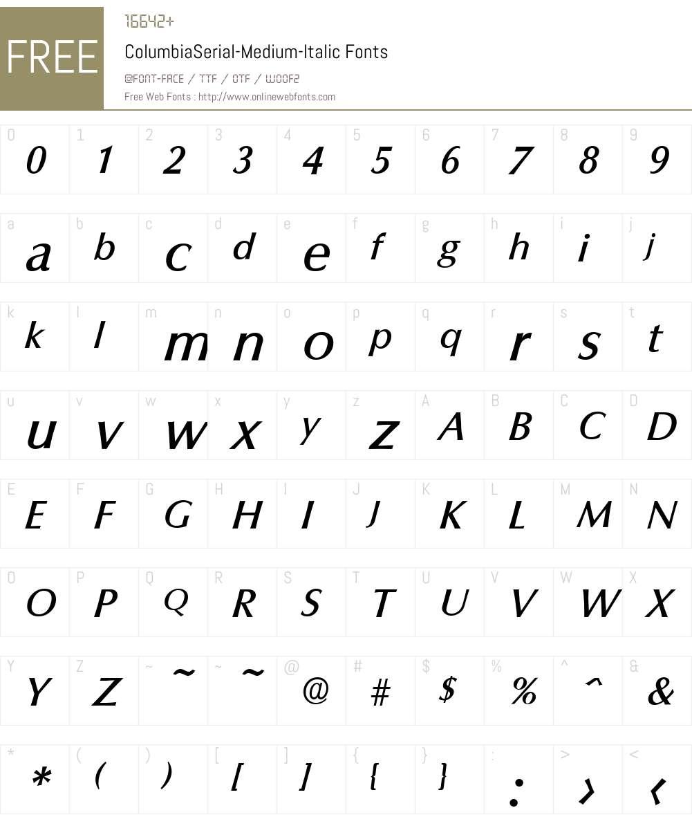 ColumbiaSerial-Medium Font Screenshots