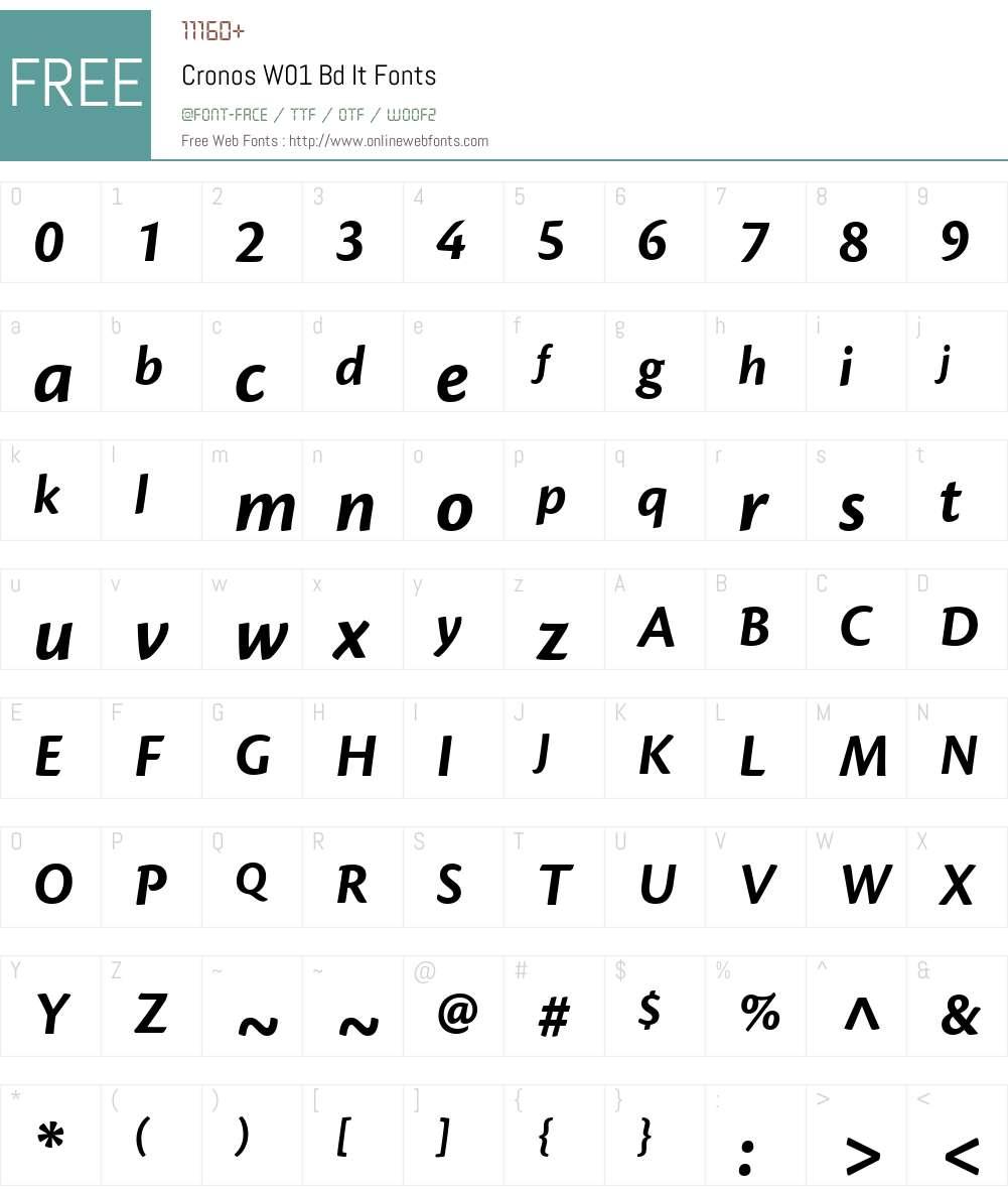 CronosW01-BdIt Font Screenshots