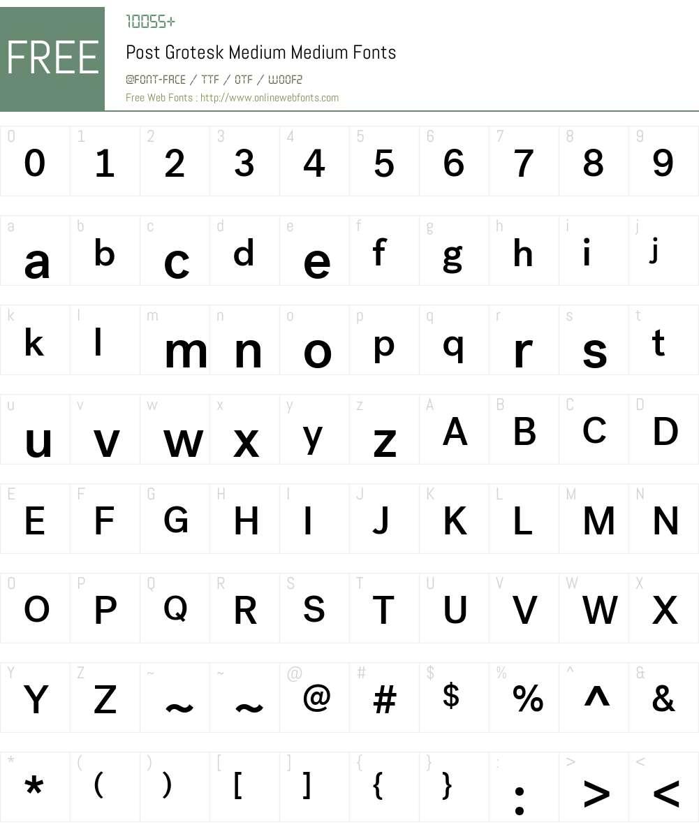 Post Grotesk Medium Font Screenshots