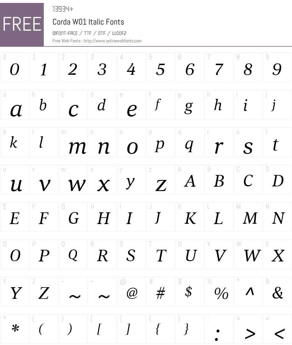 CordaW01-Italic Font Screenshots