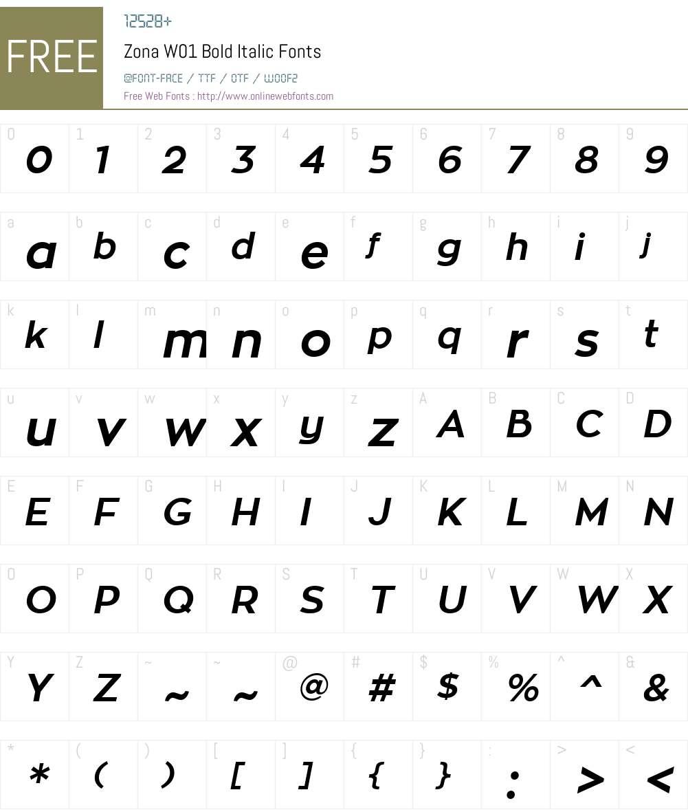 ZonaW01-BoldItalic Font Screenshots