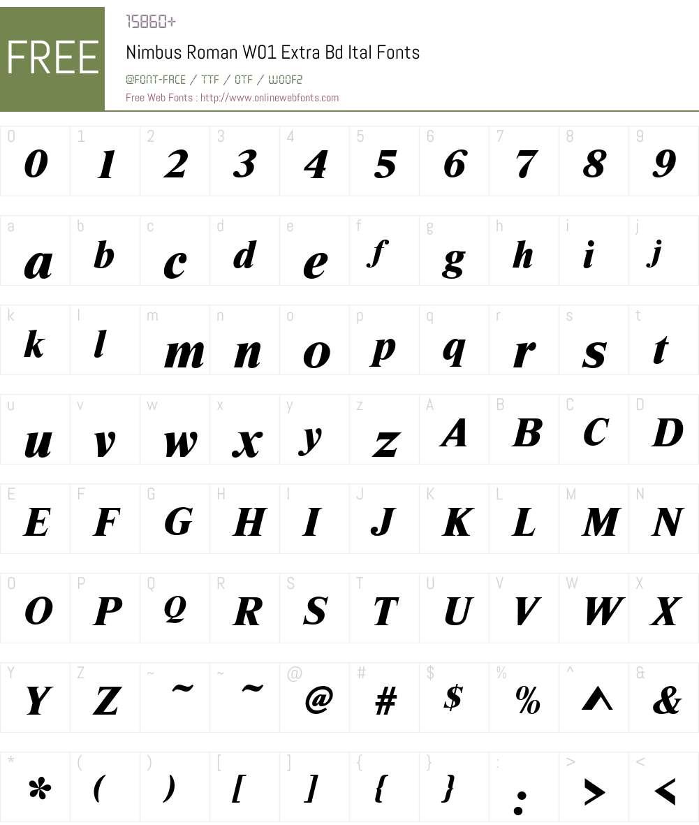 NimbusRomanW01-ExtraBdItal Font Screenshots