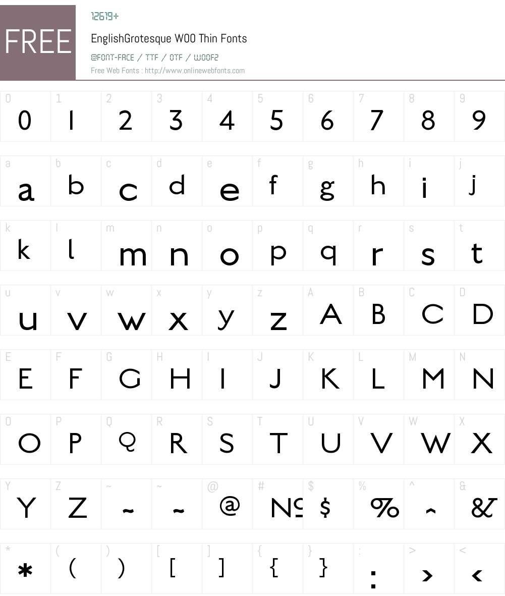 EnglishGrotesqueW00-Thin Font Screenshots