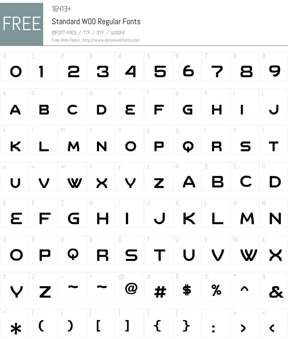 Standard Font Screenshots