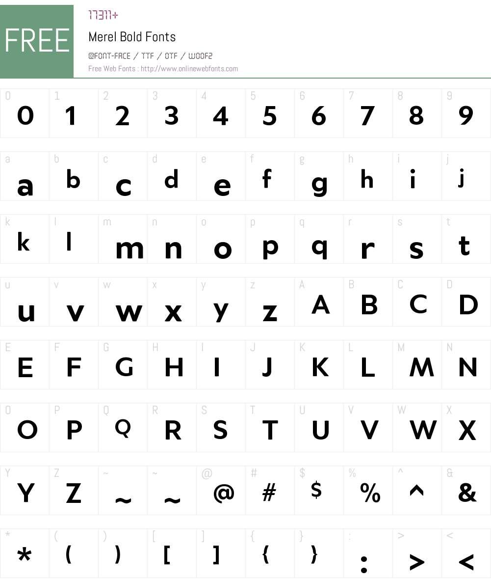 Merel-Bold Font Screenshots